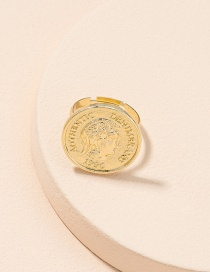 Fashion Golden Color Gold Coin Portrait Open Ring