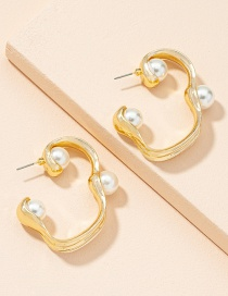 Fashion Golden Color Irregular Pearl Geometric Earrings