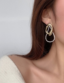 Fashion Gold Color Drop-shaped Rhinestone Hollow Alloy Earrings