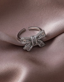 Fashion Crystal Zircon Gold-plated Copper Ring With Diamond Bow