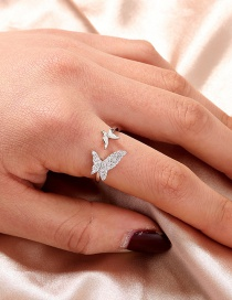 Fashion Silver Color Butterfly Diamond Open Ring