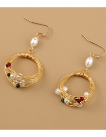 Fashion Gold Color Handmade Round Pearl Natural Stone Round Earrings