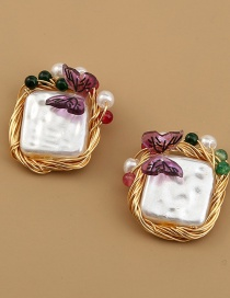 Fashion Gold Color Square Pearl Butterfly Alloy Earrings