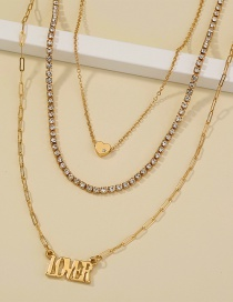 Fashion Gold Color Letter Pendant Alloy Multilayer Necklace