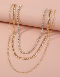 Fashion Gold Color Diamond-studded Claw Chain Alloy Detachable Multilayer Necklace