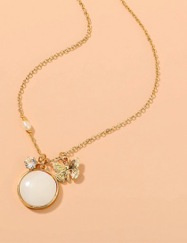 Fashion Gold Color Metal Butterfly Round Shell Necklace