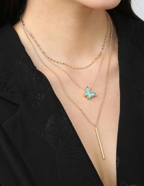 Fashion Gold Color Butterfly Pendant Multilayer Necklace