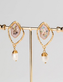 Fashion Pink Geometric Shell Natural Freshwater Pearl Earrings