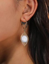 Fashion Gold Color C-shaped Pearl Geometric Alloy Earrings
