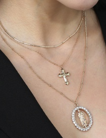 Fashion Gold Color Virgin Cross Multilayer Necklace