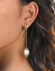 Fashion Gold Color Shell Natural Freshwater Pearl Geometric Earrings