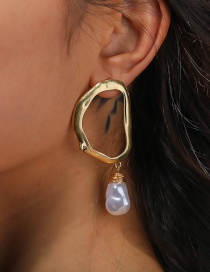 Fashion Gold Color Pearl Letter Hollow Alloy Earrings