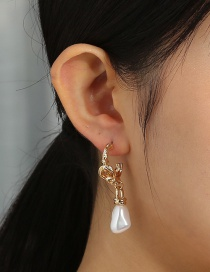 Fashion Gold Color C-shaped Special-shaped Pearl Pendant Earrings