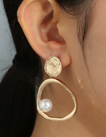 Fashion Gold Color Geometric Pearl Alloy Hollow Earrings