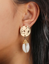 Fashion Gold Color Natural Shell Hand-woven Irregular Round Earrings