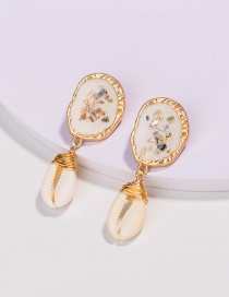 Fashion Beige Hand-woven Earrings With Dripping Oil Shells