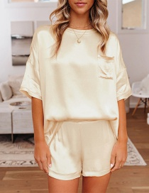 Fashion Apricot Loose Solid Color Round Neck Short Sleeve Shorts Home Service Suit