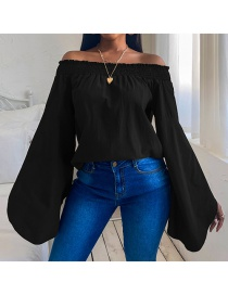 Fashion Black Loose Long-sleeved Solid Color Strapless T-shirt