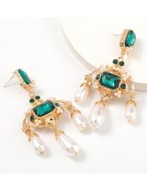 Fashion Green Alloy Diamond Imitation Pearl Geometric Earrings