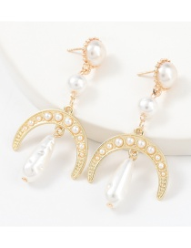 Fashion Gold Color Alloy Inlaid Pearl Crescent Earrings
