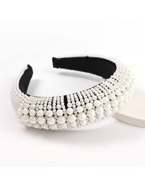 Fashion Pearl Imitation Pearl Wide Side Sponge Beaded Headband