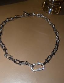 Fashion Chain Silver Alloy Diamond Thick Chain Geometric Necklace