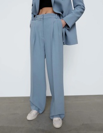 Fashion Blue Loose Solid Color Straight-leg Pants With Stitches