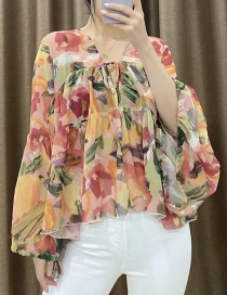 Fashion Color Printed V-neck Loose Sunscreen Clothing