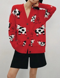 Fashion Red Loose Animal Print Knitted Jacket