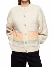 Fashion Apricot Faux Gem Button Stitching Contrast Cardigan Jacket