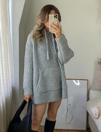 Fashion Gray Long-sleeved Knitted Loose Sweater With Large Stitching Pockets