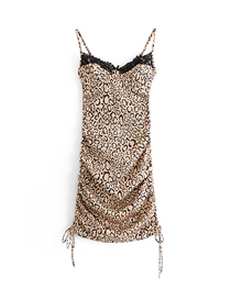 Fashion Photo Color Leopard Print Lace Stitching Three-dimensional Steel Ring Drawstring Pleated Sling Dress