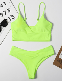 Fashion Fluorescent Yellow Solid Color Cross-piece Swimsuit