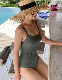 Fashion Iron Gray Tube Top Solid Color One-piece Swimsuit