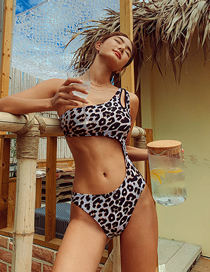 Fashion Leopard Leopard Triangle One-shoulder Swimsuit