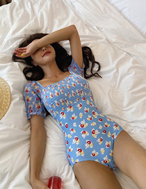Fashion Floral Floral Short-sleeved Printed Swimsuit