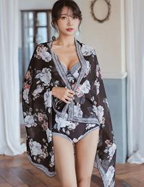 Fashion Black Flower Print Triangle One-piece Swimsuit
