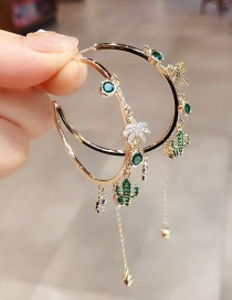Fashion Gold Color Tassel Micro Inlaid Zircon Palm Palm Cactus Earrings