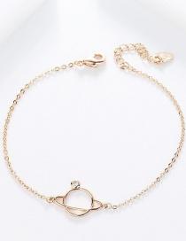 Fashion Rose Gold Diamond Saturn Sphere Bracelet