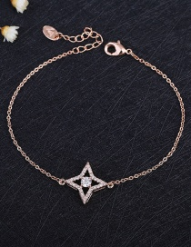 Fashion Rose Gold Plated Micro-inlaid Zircon Four-pointed Star Bracelet