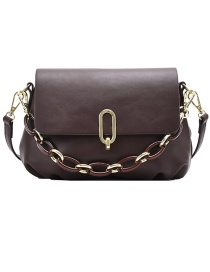 Fashion Coffee Color Flap Chain Crossbody Shoulder Bag