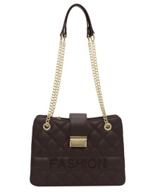 Fashion Coffee Color Embroidered Chain Letter Diagonal Shoulder Bag