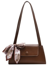 Fashion Brown Tie Silk Scarf Flap Shoulder Bag