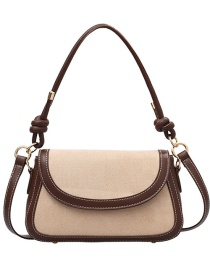 Fashion Brown With Card Stitching Contrast Diagonal Shoulder Bag