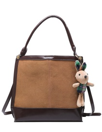 Fashion Brown Check Stitching Contrast Color Crossbody Shoulder Bag