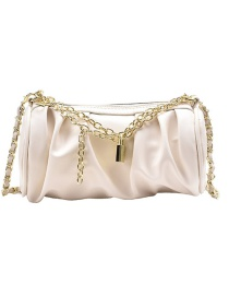 Fashion Off White Pleated Chain Shiny Diagonal Shoulder Bag