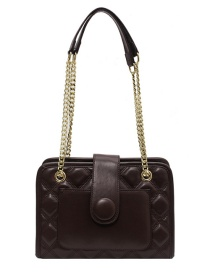 Fashion Brown Chain Rhombus Stitching Crossbody Shoulder Bag