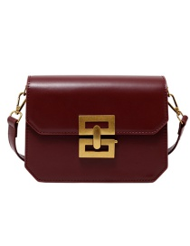 Fashion Red-brown Lock Flap Crossbody Shoulder Bag