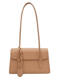 Fashion Brown Flap Solid Color Stitching Shoulder Bag