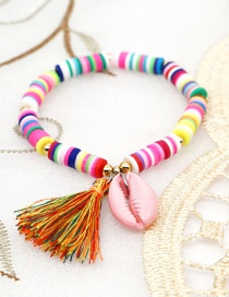 Fashion Color 6mm Colored Soft Clay Shell Tassel Bracelet